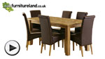 Watch Solid Oak 6ft x 3ft Dining Table + 6 Brown Scroll Back Leather Chairs video