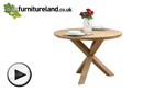 Watch Natural Solid Oak Round Table with Crossed Legs video