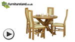 Watch Solid Oak Round Dining Table with Crossed Legs + 4 Cream Curve Back Chairs video