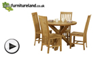 Watch Solid Oak Round Dining Table with Crossed Legs + 4 Solid Oak High Slat Back Dining Chair video