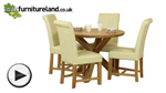 Watch Solid Oak Round Dining Table with Crossed Legs + 4 Braced Cream Leather Chairs video