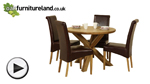 Watch Solid Oak Round Dining Table with Crossed Legs + 4 Brown Leather Chairs video