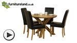 Watch Solid Oak Round Dining Table with Crossed Legs + 4 Black Stitch Back Chairs video