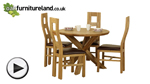 Watch Solid Oak Round Dining Table with Crossed Legs + 4 Brown Wave Back Chairs video