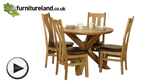 Watch Solid Oak Round Dining Table with Crossed Legs + 4 Arched Back Solid Oak Dining Chairs video
