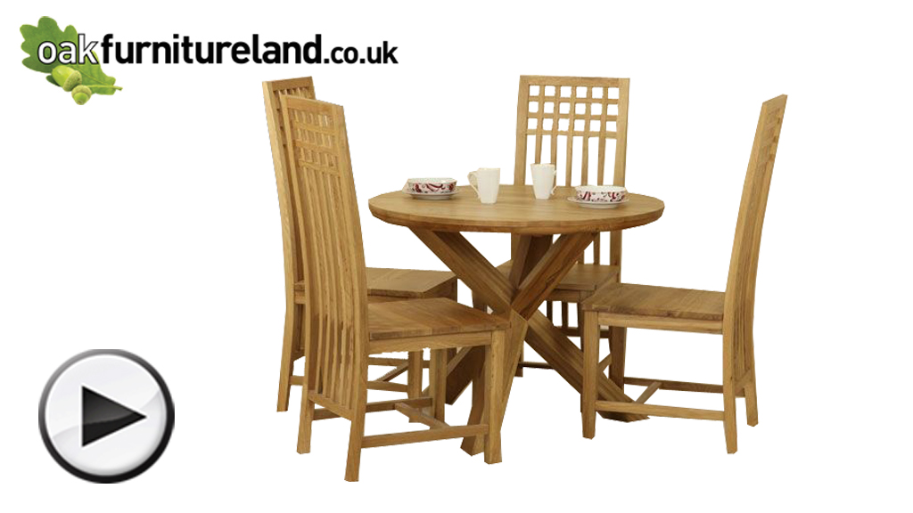 Watch Solid Oak Round Dining Table with Crossed Legs + 4 Solid Oak Lattice Back Dining Chair video