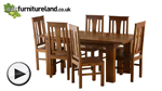 Watch Tokyo Brown Teak Mango 6ft x 3ft Dining Table + 6 Tokyo Brown Chairs video